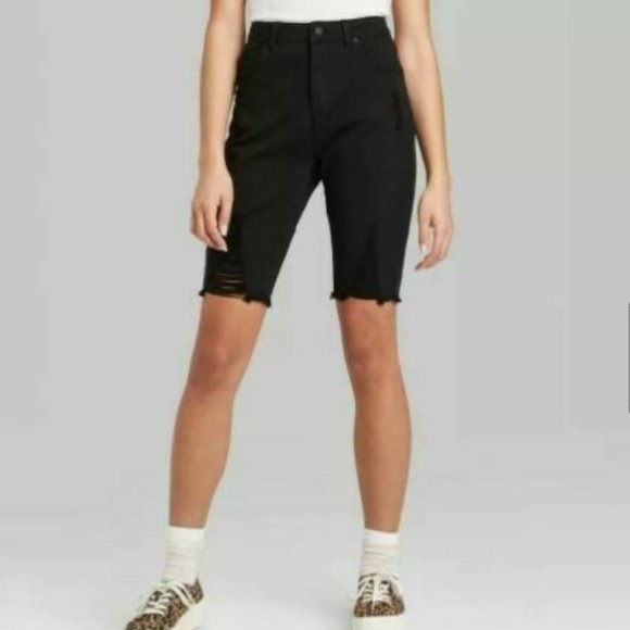 Wild Fable High-Rise Distressed Black Jean Shorts